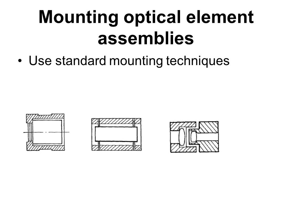 Mounting optical element assemblies Use standard mounting techniques