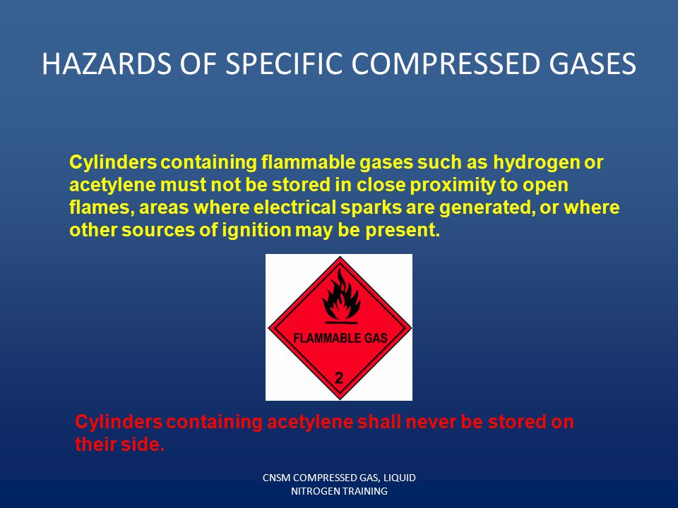 Oxygen cylinders, full or empty, shall not be stored in the same vicinity as flammable gases. The proper storage for oxygen cylinders requires that a