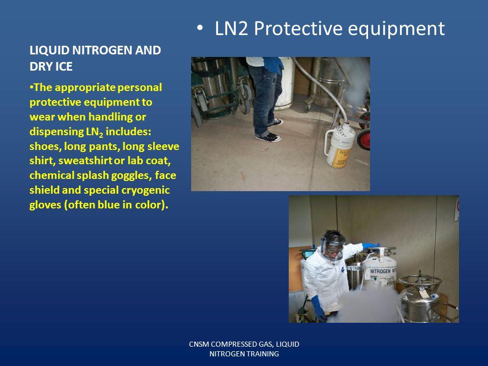 LIQUID NITROGEN AND DRY ICE 160 Liter Liquid Nitrogen Dewars Three main hazards associated with liquid nitrogen (LN 2 ). 1.Cold-burn—LN 2 will cause d