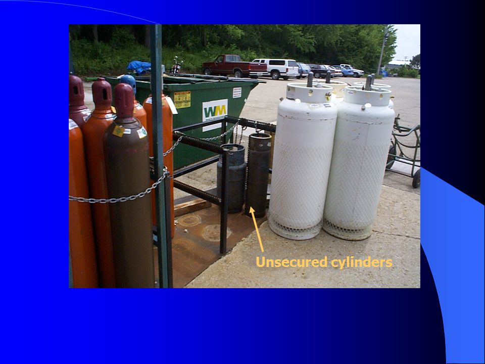 Acetylene Cylinder 1.Unsecured acetylene cylinder 2. Exposed to damage