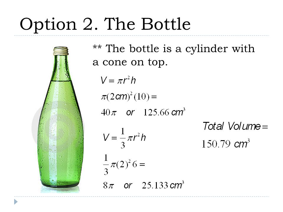 Option 2. The Bottle ** The bottle is a cylinder with a cone on top.