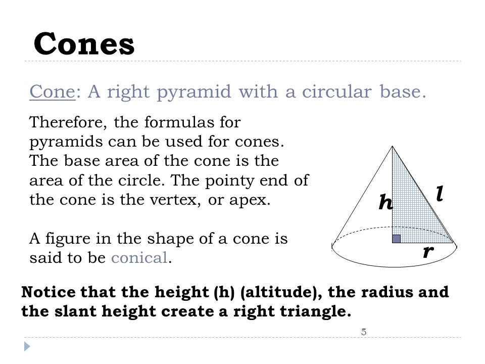Cones 5 Cone: A right pyramid with a circular base.