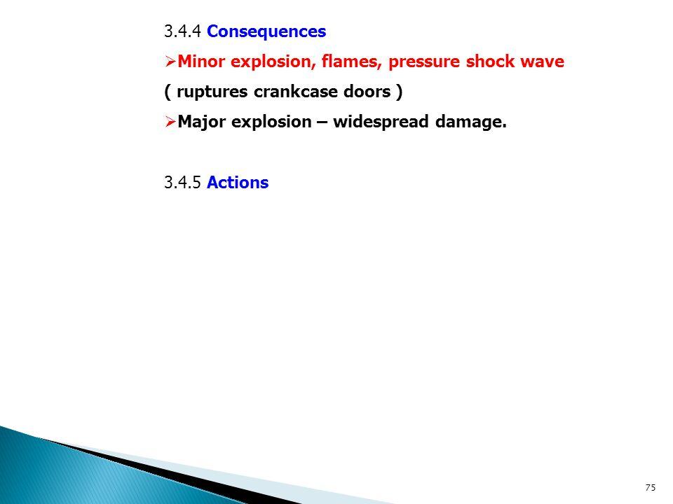 3.4.4 Consequences  Minor explosion, flames, pressure shock wave ( ruptures crankcase doors )  Major explosion – widespread damage. 3.4.5 Actions 75