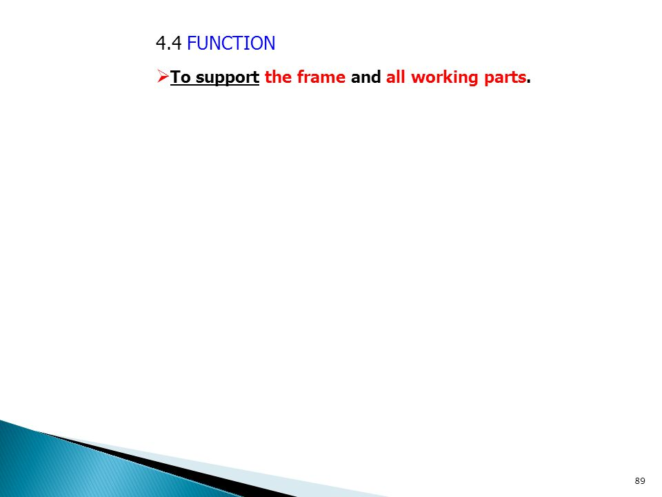 4.4 FUNCTION  To support the frame and all working parts. 89