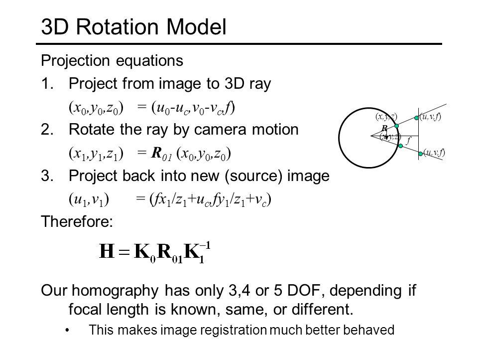 3D → 2D Perspective Projection u (X c,Y c,Z c ) ucuc f K