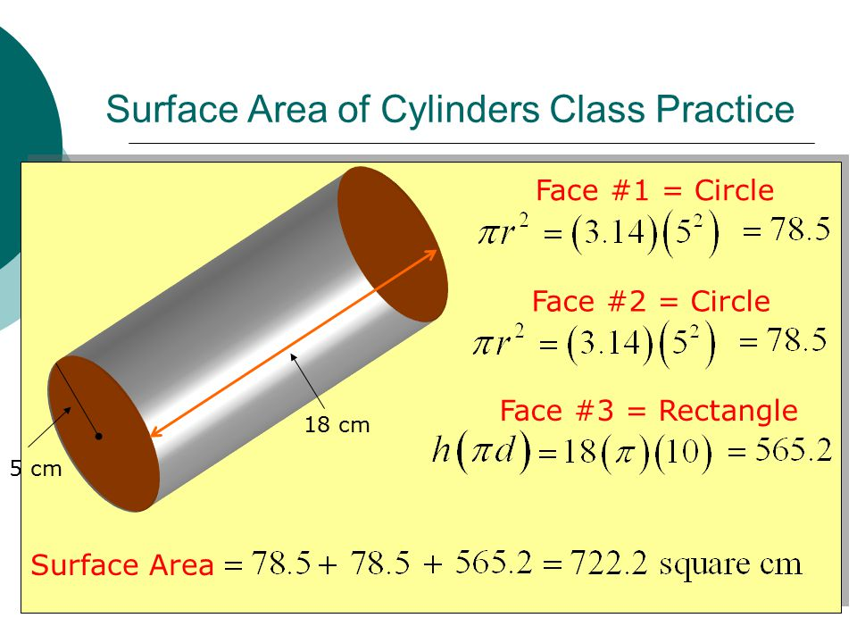 Surface Area of Cylinders Class Practice 5 cm 18 cm Face #1 = Circle Face #2 = Circle Face #3 = Rectangle Surface Area