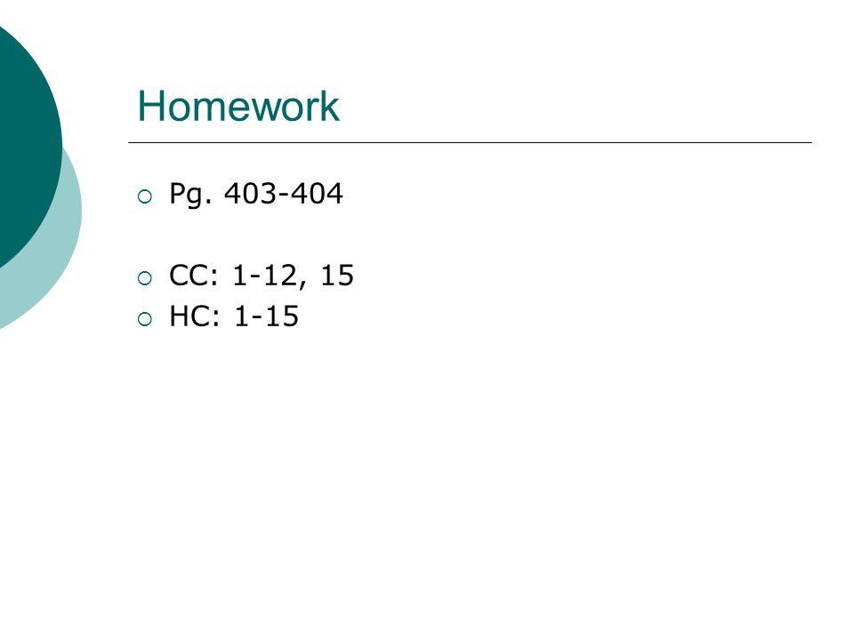 Homework  Pg. 403-404  CC: 1-12, 15  HC: 1-15