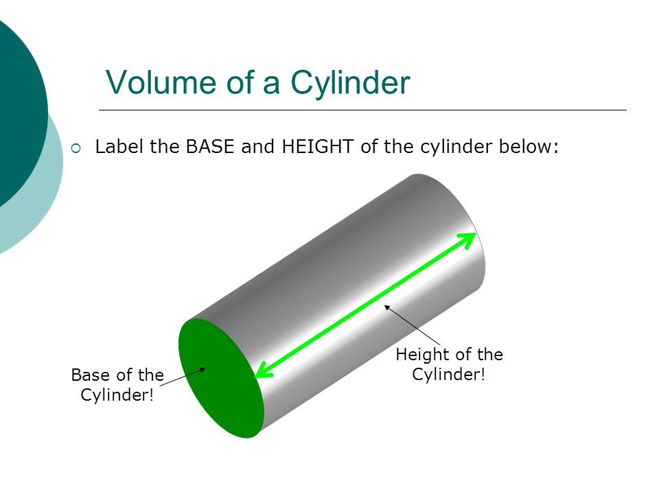 Volume of a Cylinder  Label the BASE and HEIGHT of the cylinder below: Base of the Cylinder.