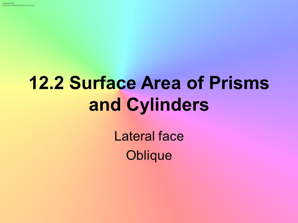 Definition of a Prism A Prism is a solid having bases or ends that are parallel, congruent polygons and sides that are parallelograms.