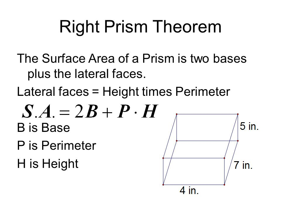 Right Prism Theorem The Base is 4(7)= 28 Perimeter is 2(4)+2(7) = 22 Height is 5 S.A.