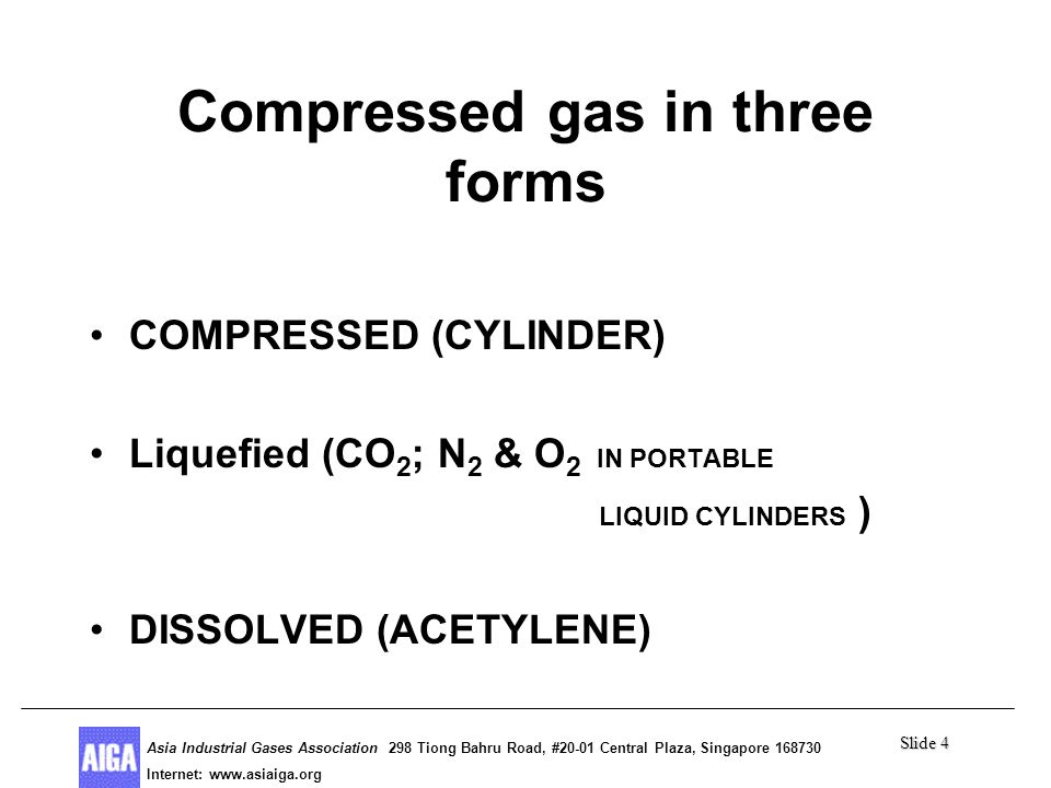 Slide 4 Asia Industrial Gases Association 298 Tiong Bahru Road, #20-01 Central Plaza, Singapore 168730 Internet: http//www.asiaiga.org Asia Industrial