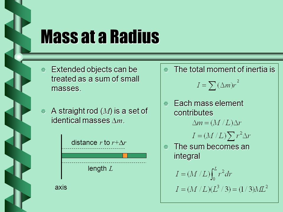 Mass at a Radius  Extended objects can be treated as a sum of small masses.