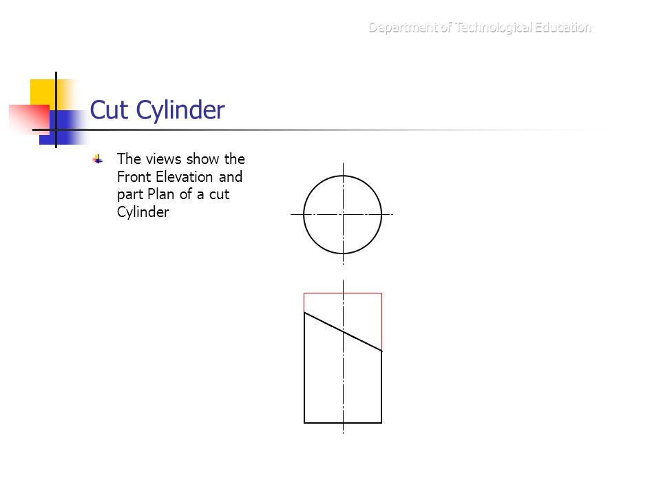 Cut Cylinder The views show the Front Elevation and part Plan of a cut Cylinder