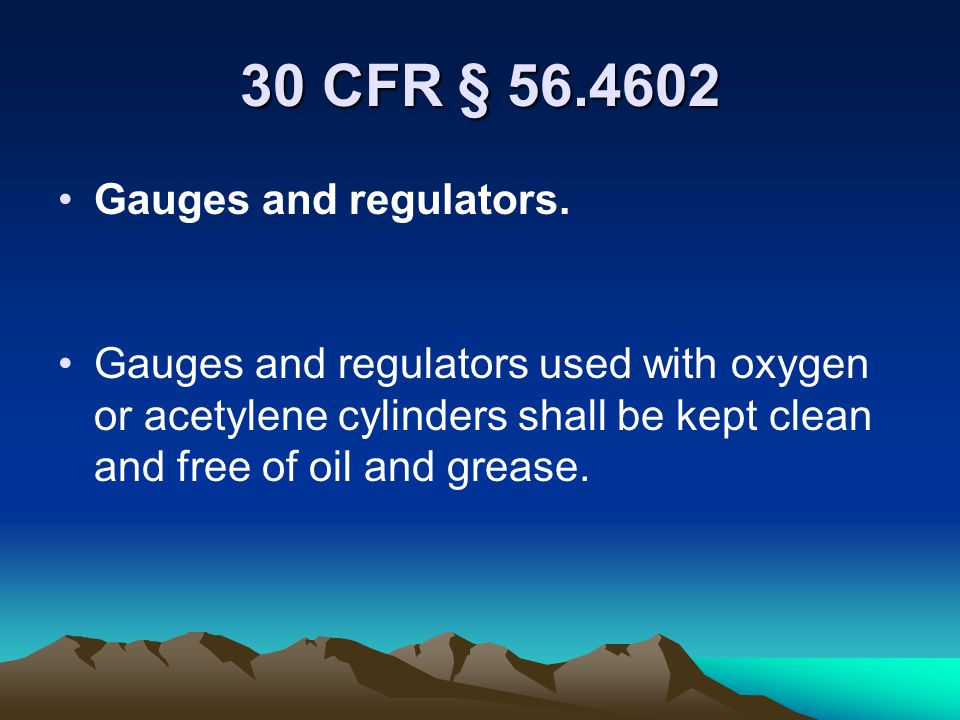 30 CFR § 56.4601 Oxygen cylinder storage. Oxygen cylinders shall not be stored in rooms or areas used or designated for storage of flammable or combus