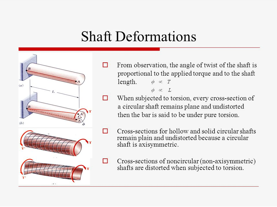 Shaft Deformations  From observation, the angle of twist of the shaft is proportional to the applied torque and to the shaft length.  When subjected