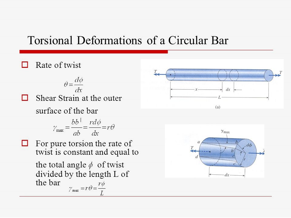 Torsional Deformations of a Circular Bar  Rate of twist  Shear Strain at the outer surface of the bar  For pure torsion the rate of twist is constant and equal to the total angle of twist divided by the length L of the bar