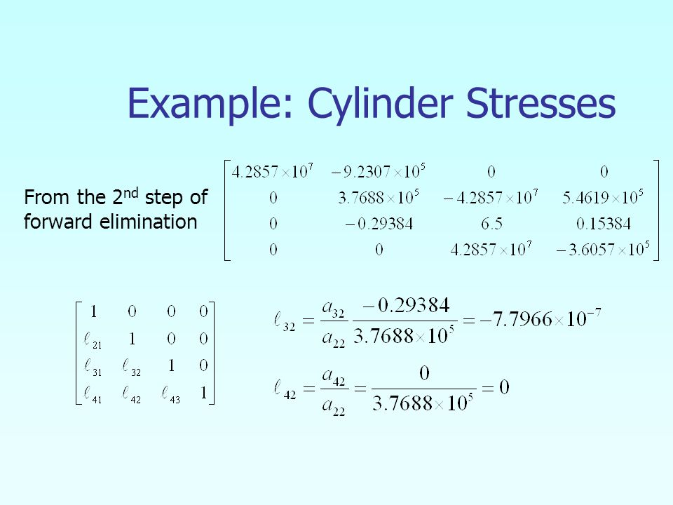 Example: Cylinder Stresses From the 2 nd step of forward elimination