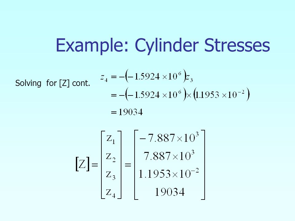 Example: Cylinder Stresses Solving for [Z] cont.