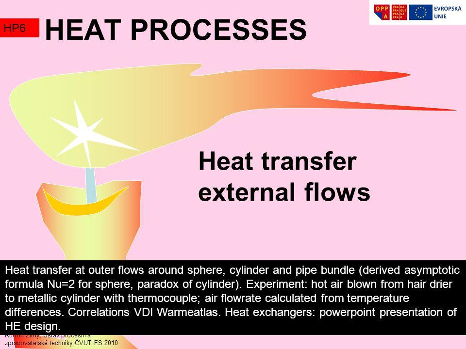 Heat transfer external flows Rudolf Žitný, Ústav procesní a zpracovatelské techniky ČVUT FS 2010 HEAT PROCESSES HP6 Heat transfer at outer flows around sphere, cylinder and pipe bundle (derived asymptotic formula Nu=2 for sphere, paradox of cylinder).