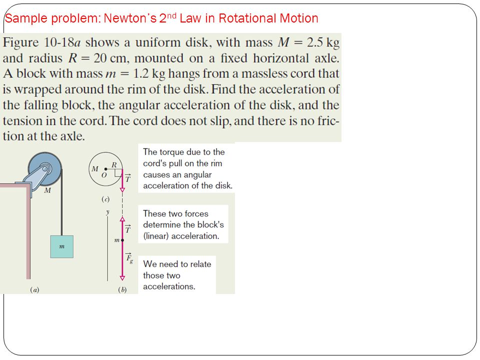 Sample problem: Newton's 2 nd Law in Rotational Motion