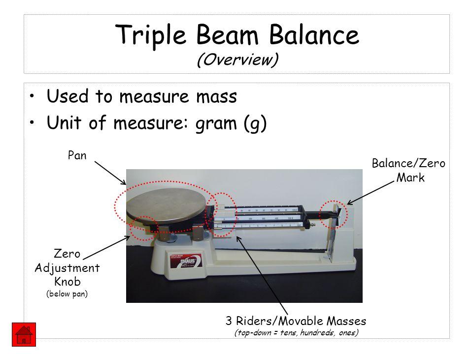 Triple Beam Balance (Overview) Used to measure mass Unit of measure: gram (g) Pan Balance/Zero Mark Zero Adjustment Knob (below pan) 3 Riders/Movable