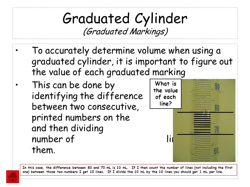 Graduated Cylinder (Graduated Markings) To accurately determine volume when using a graduated cylinder, it is important to figure out the value of eac