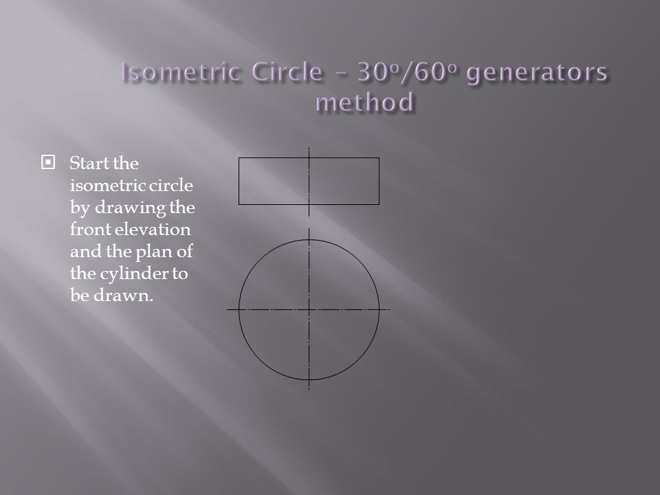  Start the isometric circle by drawing the front elevation and the plan of the cylinder to be drawn.