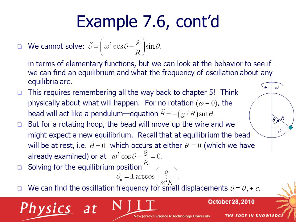 October 28, 2010  We cannot solve: in terms of elementary functions, but we can look at the behavior to see if we can find an equilibrium and what th