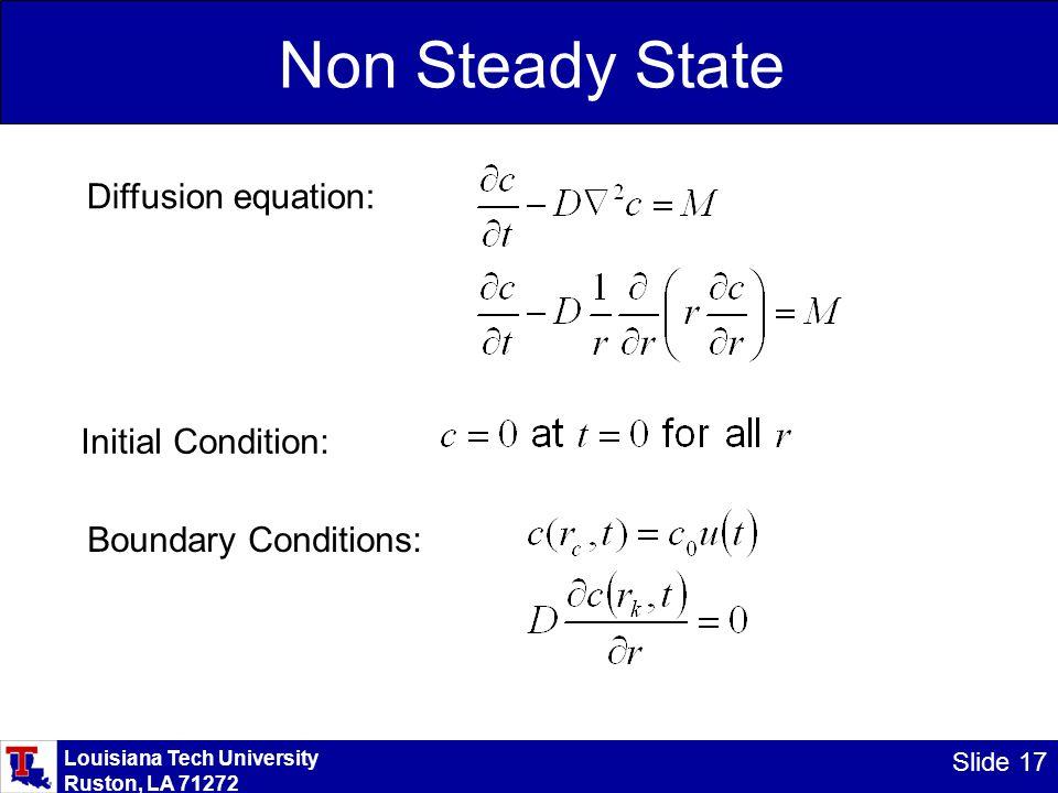 Louisiana Tech University Ruston, LA 71272 Slide 17 Non Steady State Diffusion equation: Initial Condition: Boundary Conditions: