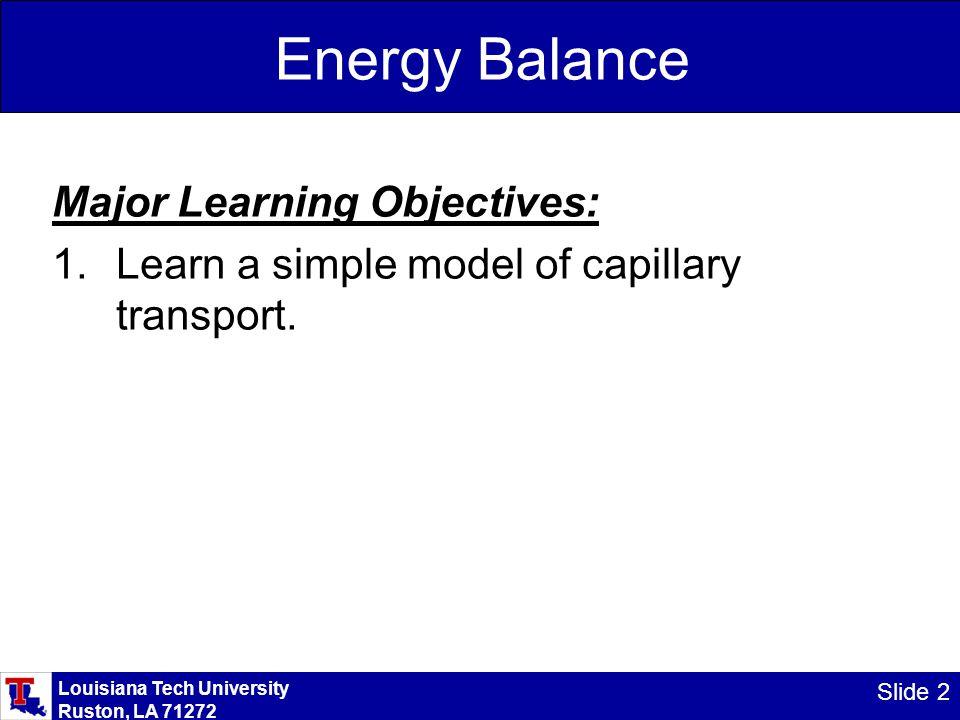 Louisiana Tech University Ruston, LA 71272 Slide 2 Energy Balance Major Learning Objectives: 1.Learn a simple model of capillary transport.