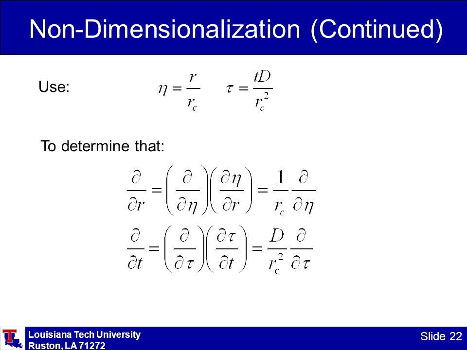 Louisiana Tech University Ruston, LA 71272 Slide 22 Non-Dimensionalization (Continued) Use: To determine that: