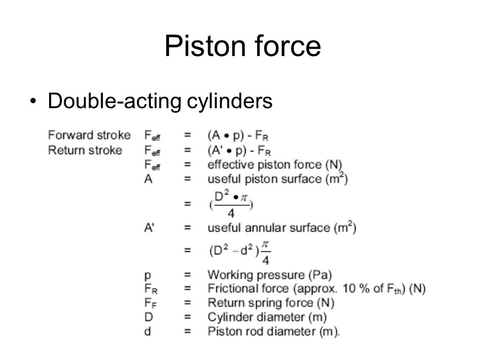 Piston force Double-acting cylinders