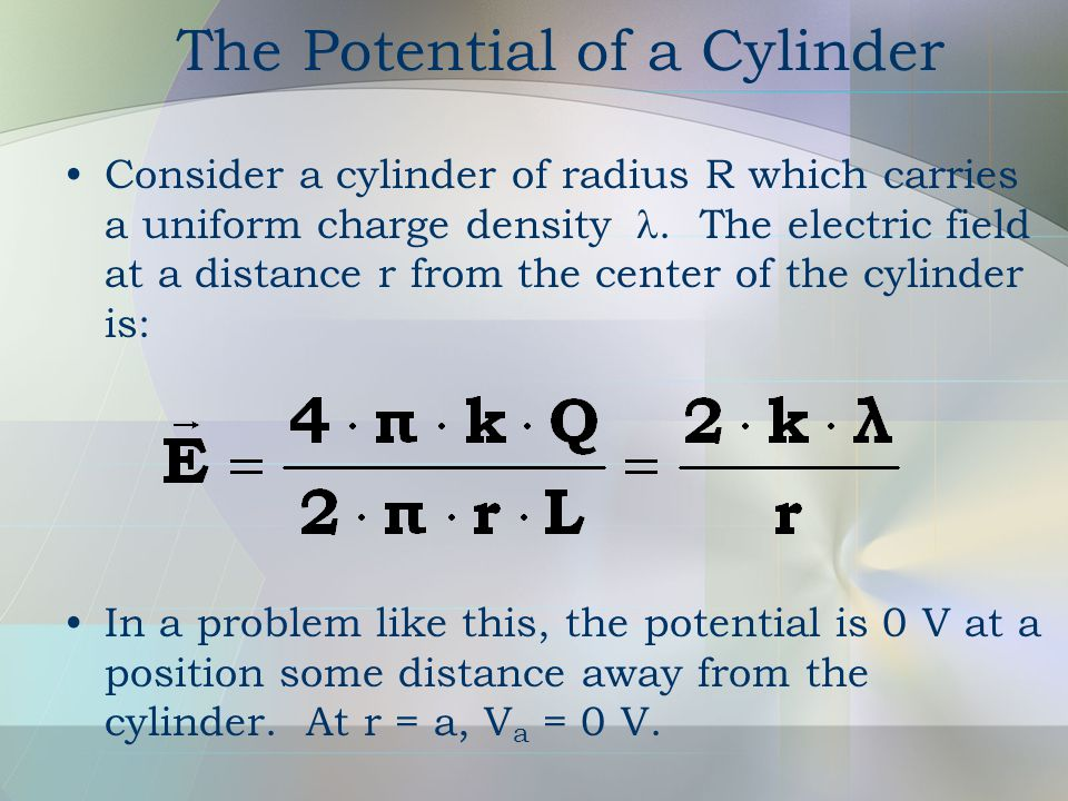 The Potential of a Cylinder Consider a cylinder of radius R which carries a uniform charge density .