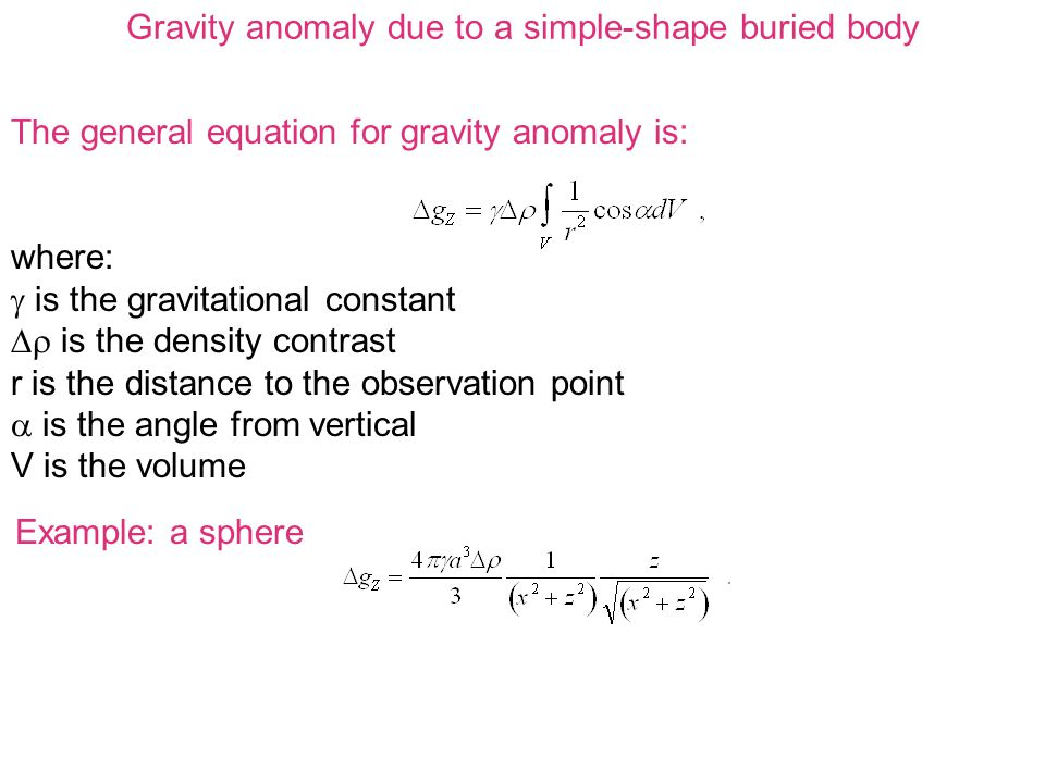 The general equation for gravity anomaly is: where:  is the gravitational constant  is the density contrast r is the distance to the observation point  is the angle from vertical V is the volume Gravity anomaly due to a simple-shape buried body Example: a sphere