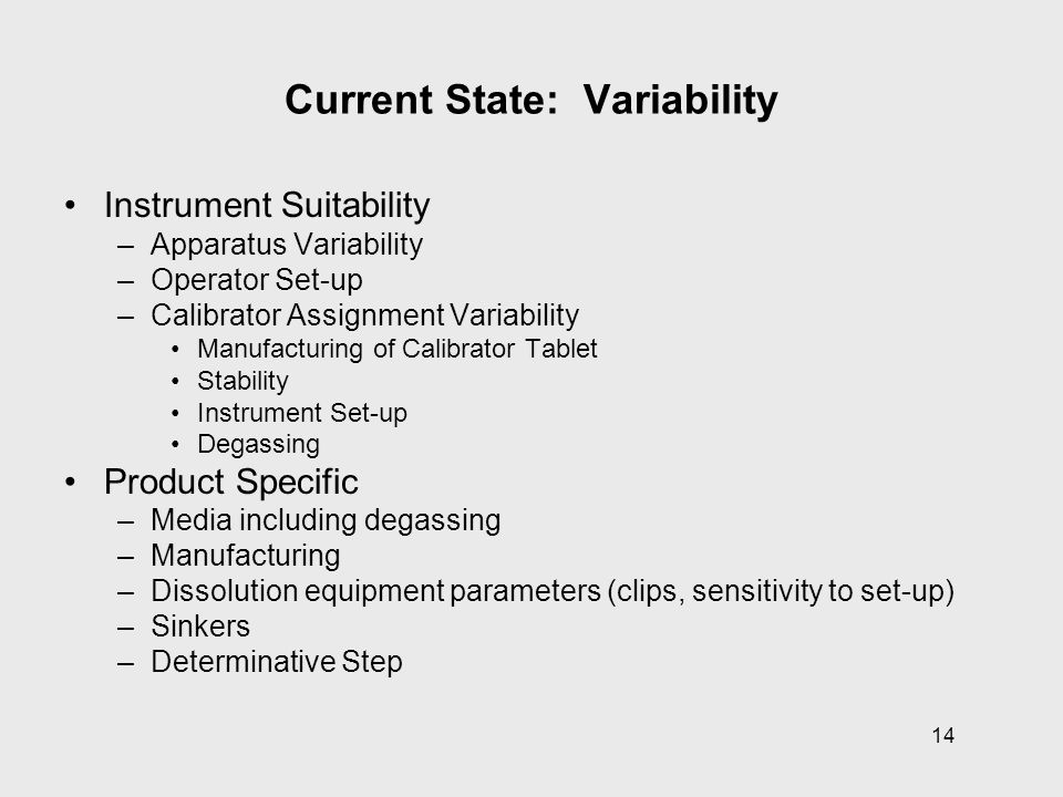 14 Current State: Variability Instrument Suitability –Apparatus Variability –Operator Set-up –Calibrator Assignment Variability Manufacturing of Calib