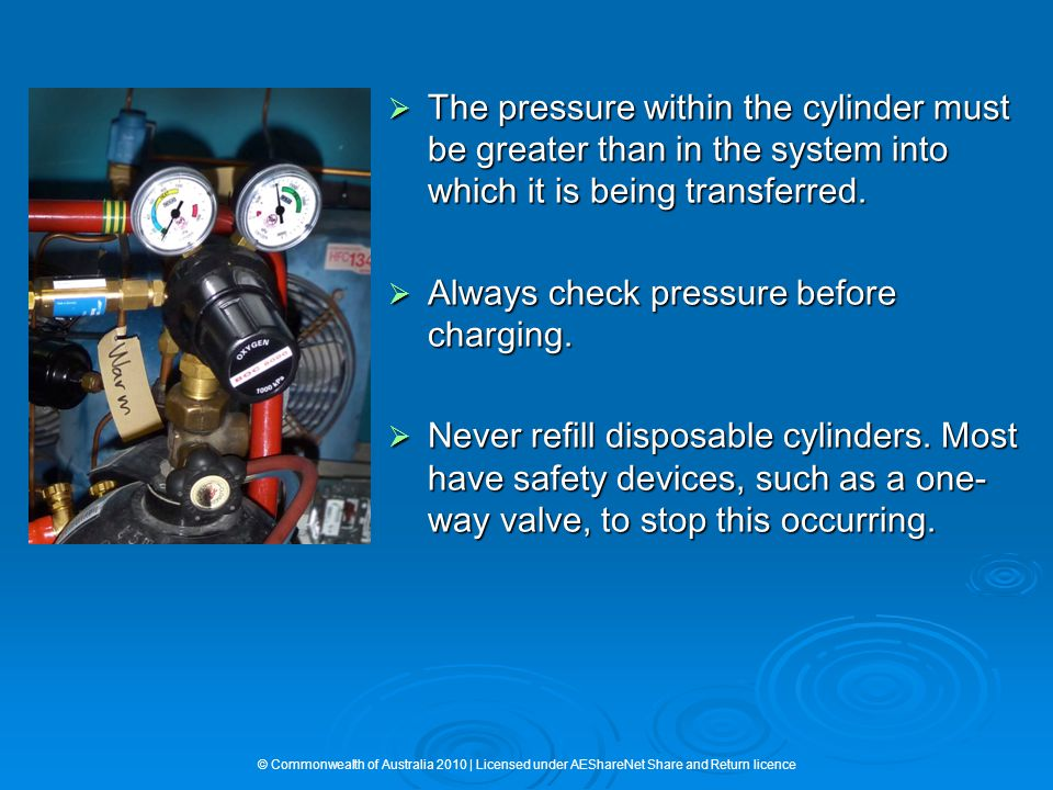  The pressure within the cylinder must be greater than in the system into which it is being transferred.