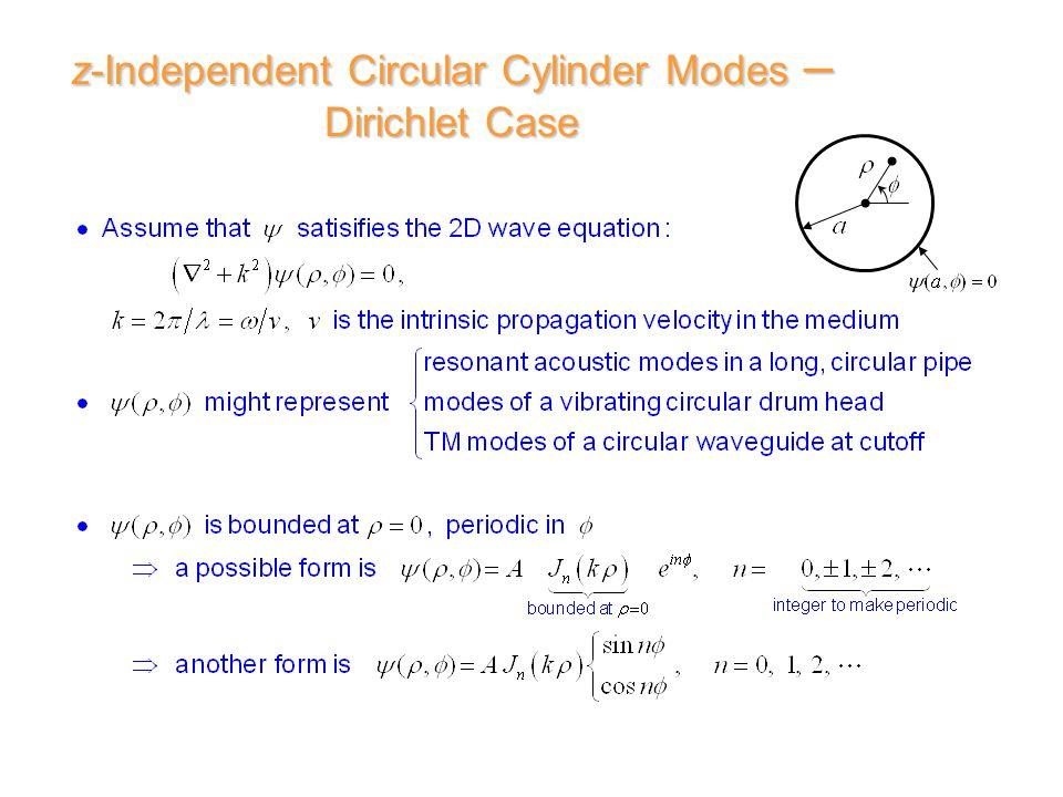z-Independent Circular Cylinder Modes – Dirichlet Case