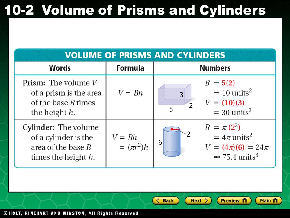 Holt CA Course 1 10-2Volume of Prisms and Cylinders