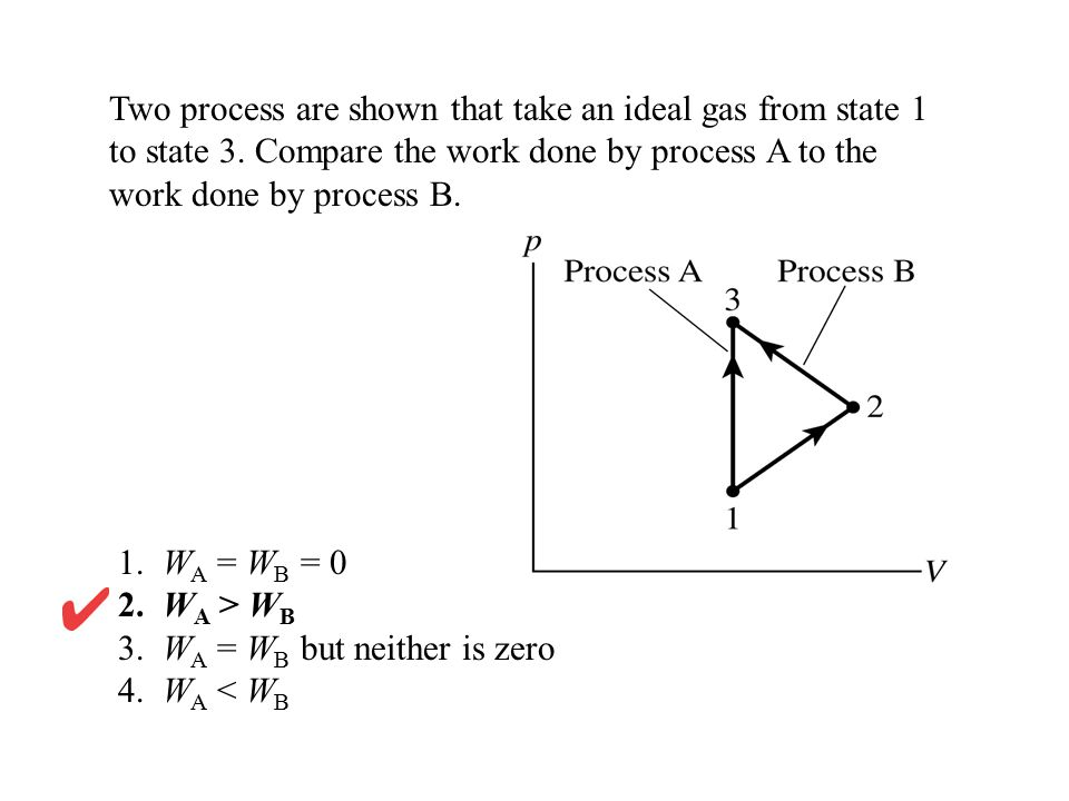 Two process are shown that take an ideal gas from state 1 to state 3. Compare the work done by process A to the work done by process B. 1. W A = W B =
