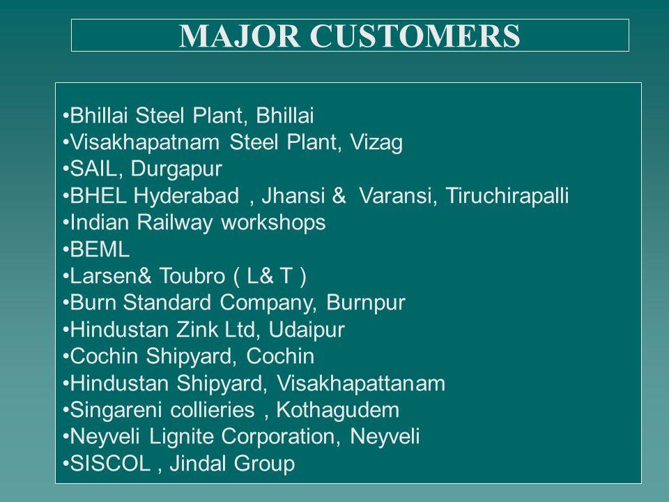Bhillai Steel Plant, Bhillai Visakhapatnam Steel Plant, Vizag SAIL, Durgapur BHEL Hyderabad, Jhansi & Varansi, Tiruchirapalli Indian Railway workshops BEML Larsen& Toubro ( L& T ) Burn Standard Company, Burnpur Hindustan Zink Ltd, Udaipur Cochin Shipyard, Cochin Hindustan Shipyard, Visakhapattanam Singareni collieries, Kothagudem Neyveli Lignite Corporation, Neyveli SISCOL, Jindal Group MAJOR CUSTOMERS