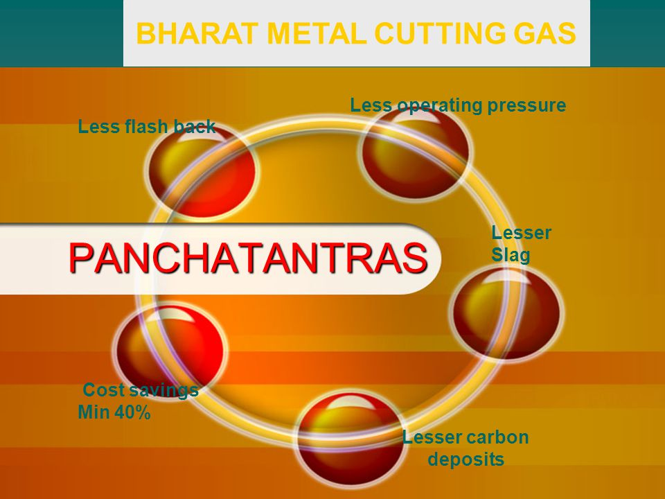 PANCHATANTRAS Less flash back Less operating pressure Lesser Slag Lesser carbon deposits Cost savings Min 40% BHARAT METAL CUTTING GAS