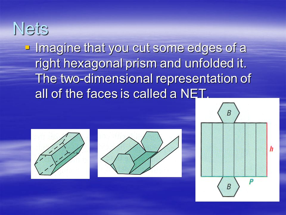 Nets  Imagine that you cut some edges of a right hexagonal prism and unfolded it.