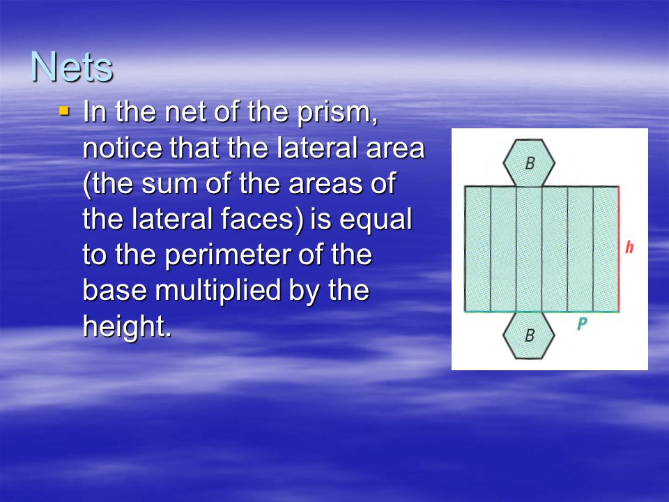 Nets  In the net of the prism, notice that the lateral area (the sum of the areas of the lateral faces) is equal to the perimeter of the base multiplied by the height.
