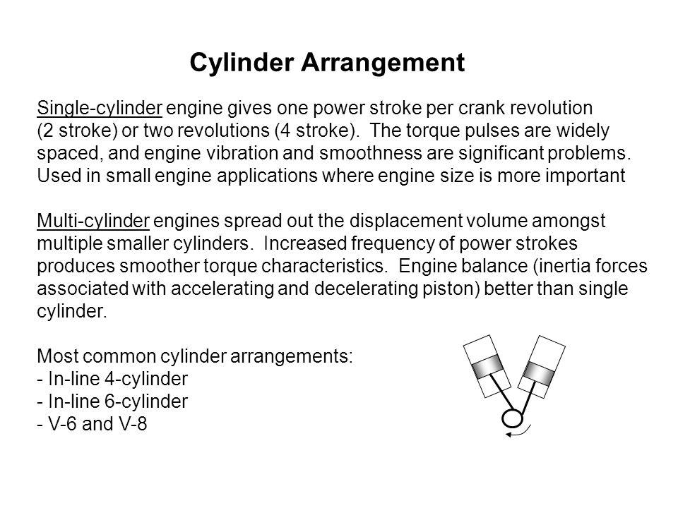 Cylinder Arrangement Single-cylinder engine gives one power stroke per crank revolution (2 stroke) or two revolutions (4 stroke). The torque pulses ar