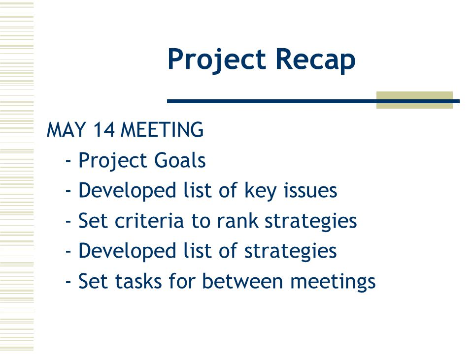 Project Recap MAY 14 MEETING - Project Goals - Developed list of key issues - Set criteria to rank strategies - Developed list of strategies - Set tasks for between meetings