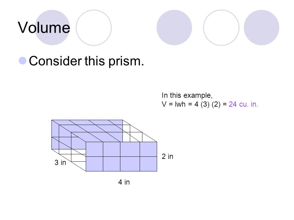 Volume Consider this prism. 4 in 2 in 3 in In this example, V = lwh = 4 (3) (2) = 24 cu. in.
