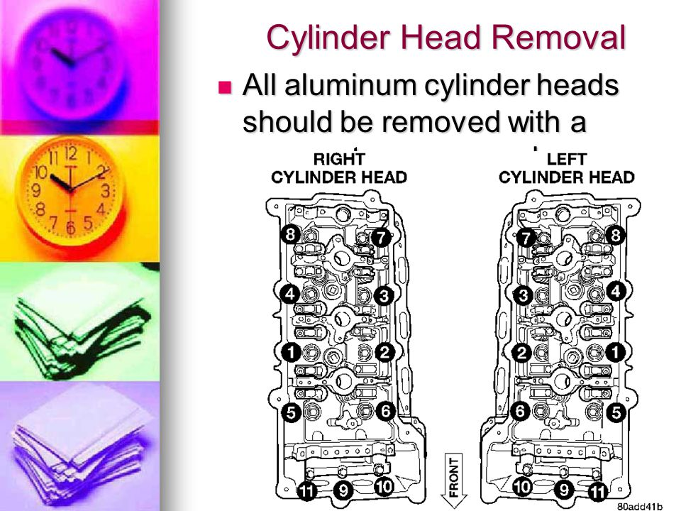 Cylinder Head Removal All aluminum cylinder heads should be removed with a reverse torque procedure. All aluminum cylinder heads should be removed wit