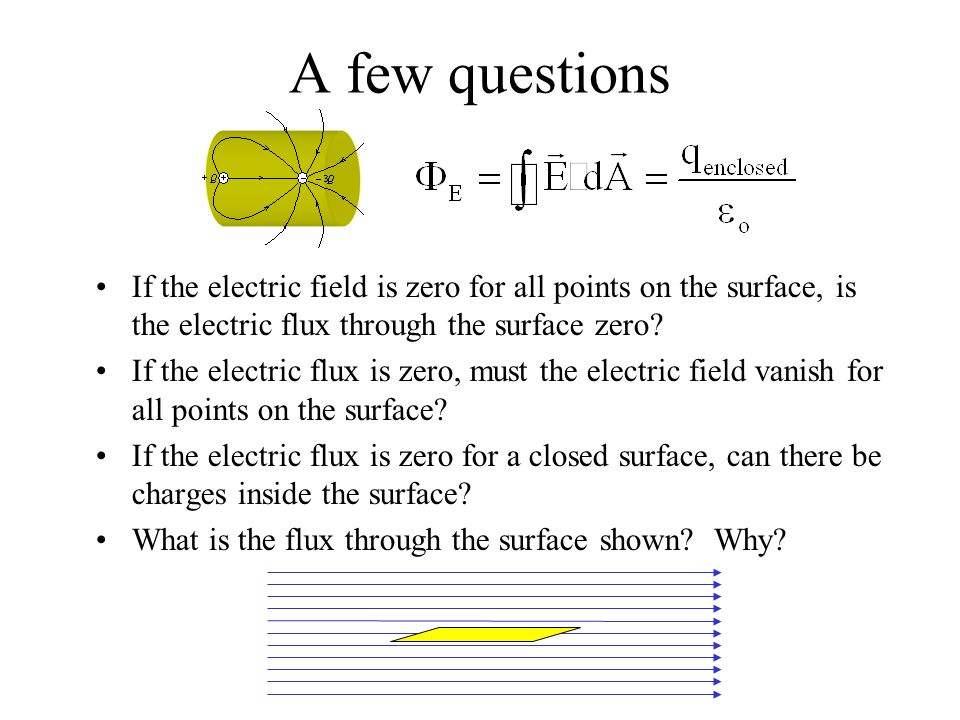 A few questions If the electric field is zero for all points on the surface, is the electric flux through the surface zero? If the electric flux is ze