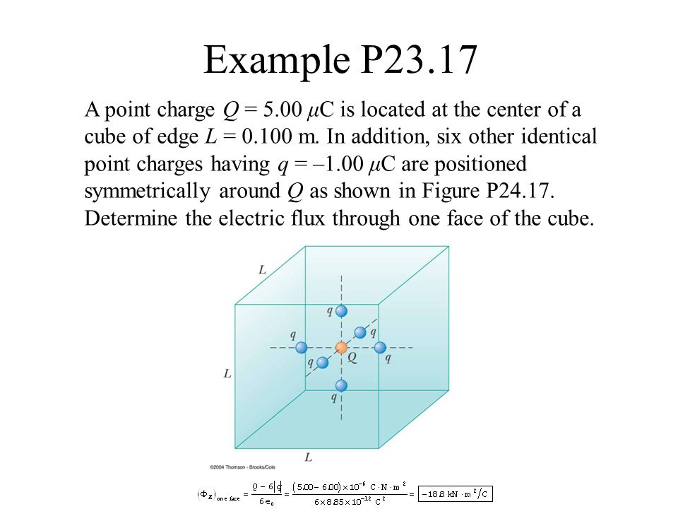 Example P23.17 A point charge Q = 5.00 μC is located at the center of a cube of edge L = 0.100 m. In addition, six other identical point charges havin