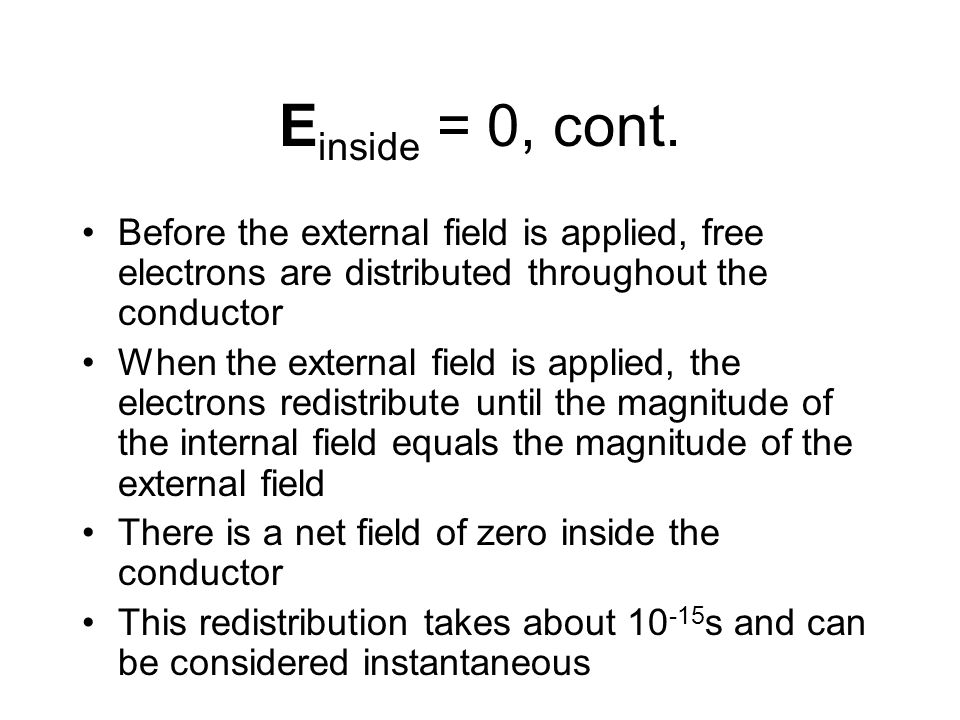 E inside = 0, cont. Before the external field is applied, free electrons are distributed throughout the conductor When the external field is applied,